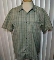 REI, QUICK DRY, Button Front pocket Plaid, Green, Hiking, Fishing, Camp Shirt XL
