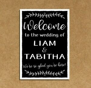 PERSONALISED vintage chalkboard style WELCOME TO OUR WEDDING sign PORTRAIT vines