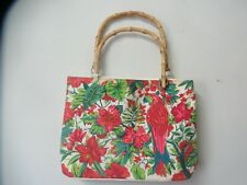 Diane Gilman Red Flower & Parrot Tote 18 x 13 White Background Wooden Handles