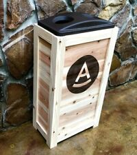 COMMERCIAL RESTAURANT WOOD RECYCLING BIN FOR CANS BOTTLES  50 GAL WITH Ur LOGO