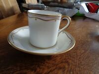 VINTAGE  PARAGON BONE CHINA MADE IN ENGLAND TEA CUP AND SAUCER #d 24KT GOLD