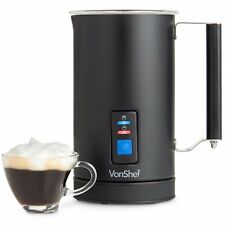 VonShef Milk Frother Electric Matte Black Premium Stainless Steel Dual Function
