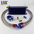 An10 10 Row Universal Engine Transmission Oil Cooler Blue Filter Adapter Kit