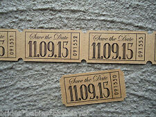 20 Kraft Brown SAVE THE DATE Personalised Drink Admit One Tickets Wedding Favour