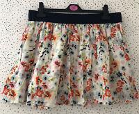 Primark Elasticated Waist Floral Multi Colour Cotton Summer Skirt Size 16
