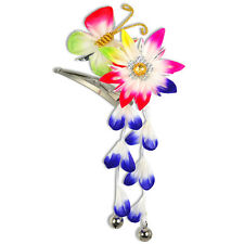 Japanese Hair Ornament Kanzashi Rainbow Flower Butterfly Wisteria Bells Clip