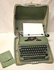 Vintage 1957 Olympia DeLuxe Green Typewriter + Hardshell Case & Key GERMAN MADE