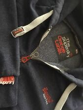 ☆Mens 2XL XXL SUPERDRY Fashion Orange Label Zip Hood Hoody Jacket Sweat Blue☆