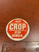 Help Stop Hunger CROP Farming Agriculture Vintage 1970's Political Pin Button