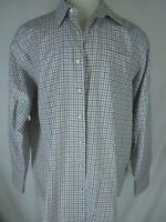 Peter Millar Mens White Tattersall Long Sleeve Cotton Shirt XXL