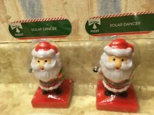 2pack -Solar Powered Dancing Santa and Santa Bobble Head Toy By Greenbrier NEW