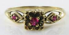 DAINTY ENGLISH 9K GOLD ART DECO INS INDIAN RUBY 3 STONE RING