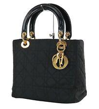 Authentic CHRISTIAN DIOR Black Quilted Nylon Lady Dior Handbag Purse #35960