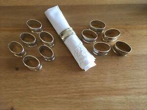 Vintage Set Of 12 Silver Plated Oval Napkin Holder Rings