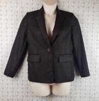 Womens Kasper Dark Brown Blazer Jacket Size 10P Long Sleeve Career Petite Fitted