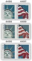 4486-87 4488-89 4490-91 Forever Lady Liberty & Flag 3 Coil Pairs MNH - Buy Now