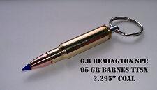 Replica 6.8mm Rem SPC Brass Bullet Keychain w/blue 95 Gr. Barnes TTSX Bullet!!