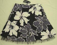 CAROLINE MORGAN Skirt polka dot Flowers net hem Lined  NEW!  31W ~ Women sz 10