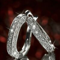 Elegant Silver Gold Rose Gold Color Hoop Earrings  Women Rhinestone  Jewelry.