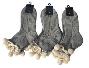 Ladies 3pk Grey Cream Crochet Top Woolly Socks Gripper Sole Christmas Warm Stock