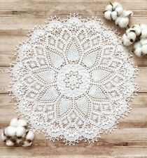 Hand crocheted 3D lace white doily cotton handmade vintage home decor