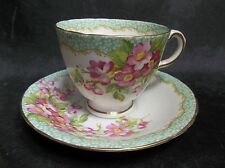 e6 DELPHINE TEA CUP AND SAUCER ORCHARD PATTERN FLORAL GREEN BAND TEACUP