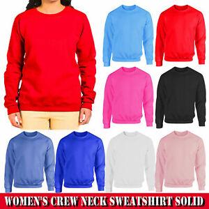New Women's Ladies Plain Sweatshirt Soft Crew Neck Fleece Pullover Jumper Top