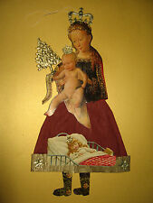 Large Paper-Mary with Christ Child Christmas Tree Lace Glossies DRESDEN Cardboard