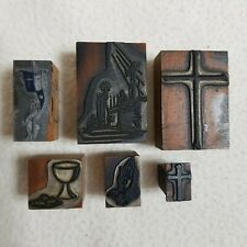 6 Vintage Letterpress Printing Blocks Religious Cross Crucifix Praying Hands