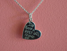 925 Sterling Silver Message I Have Best Friend Heart Pendant Necklace