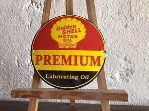 Golden Shell Motor Oil Premium Vintage Reklame Schild Emaile