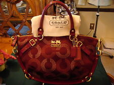 NWOT  COACH MADISON DOTTED OP ART SOPHIA Crimson 15935 SATCHEL
