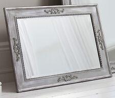 "Ellesmere Large Vintage Grey Rectangle Overmantle Wall Mirror 37"" x 27"""