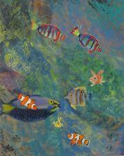 Ölgemälde Kunst Unikat Original IM MEER Malerei Fische 55x69cm