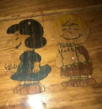 2 Vintage Peanuts LUCY CHARLIE BROWN Hand Painted Flat Wood Christmas Ornament