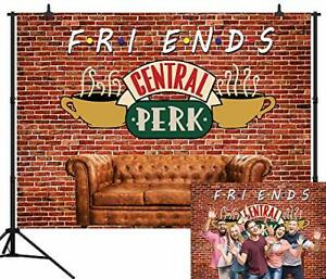 CapiSco 5X3FT Central Perk Friends Tv Show Theme Party Backdrop Red Brick Wal...