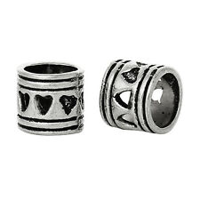 2PC Heart Ring Love Large Hole Spacer Bead fits Silver European Charm Bracelets
