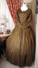 Civil War Reenactment Day Dress Size 12 Olive Drab with Black Design