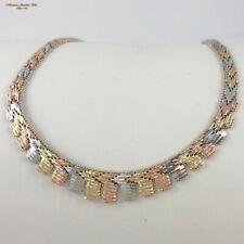 """14K Tri Color Gold MIRROR LINK Cleopatra Bib Fringe Necklace 17"""" 41.5G  (d30 01)"""