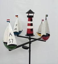 Schiffskarussell Regatta mit Beleuchtung Windrad Windspiel Solar LED Leuchtturm