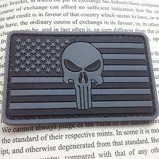GRAY PUNISHER SKULL USA FLAG OP RUBBER 3D MORALE TACTICAL PVC PATCH