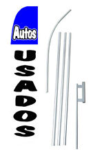 Autos Usados Used Cars Tall Advertising Banner Flag Complete Sign Kit 2.5 feet