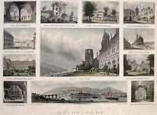 HEIDELBERG SOUVENIR-BLATT 1856 F. FOLTZ SCHLOSS ALTAN FASS UNIVERSITÄT NECKAR...