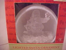 Brand New Pigtail Lighted Frosted or Satin Santa in Globe Chritmas Tree Ornament