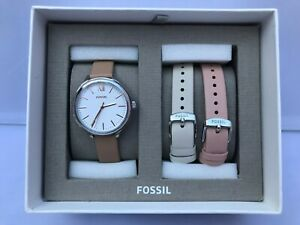 FOSSIL Suitor Silver White Dial Leather Strap Watch Gift Set BQ3416SET MSRP $145