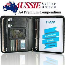 Premium Portfolio Compendium - Zippered With 4 Ring Binder