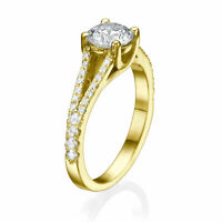 Brilliant 18K Yellow Gold Round Cut Diamond Engagement Ring 1.50 CT D/VS1