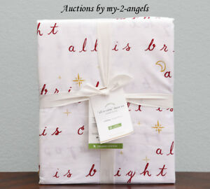 Pottery Barn ALL IS CALM Organic Cotton Percale Queen Sheet Set *Christmas Red