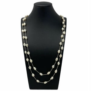 A Beautiful Handmade Freshwater Pearl Long Necklace Finished In Cream Pearls