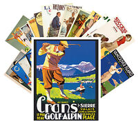 Postcards Pack [24 cards] Golf Vintage European Sport Travel Posters CC1029